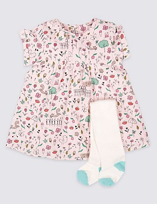 2 Piece Printed Cord Dress with Tights, PINK MIX, catlanding