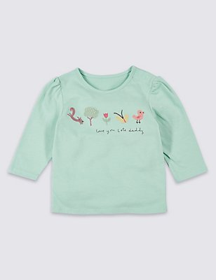 Love you Lots Daddy Embroidered Top, SMOKEY GREEN, catlanding