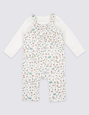 2 Piece Bodysuit & Frill Dungaree Outfit, WINTER WHITE, catlanding