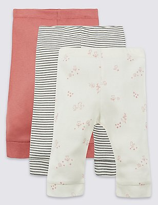 3 Pack Pure Cotton Leggings, PINK MIX, catlanding