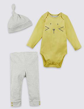 3-teiliges Outfit aus Body, Hose und Mütze, GELB MELANGE, catlanding