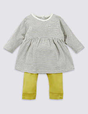 2 Piece Pure Cotton Top & Leggings Outfit, YELLOW MIX, catlanding