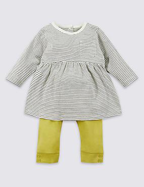2-teiliges Outfit aus reiner Baumwolle, bestehend aus Oberteil und Leggings, GELB MELANGE, catlanding