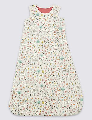 Pure Cotton All Over Print 2.1 Tog Sleeping Bag, MULTI, catlanding