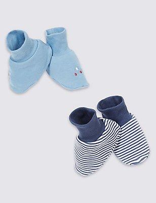 Lot de 2paires de chaussons montants 100% coton à rayures, BLEU CLAIR ASSORTI, catlanding
