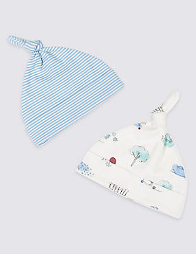 2 Pack Pure Cotton Assorted Hats, LIGHT BLUE MIX, catlanding