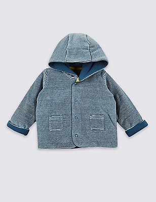 Cotton Rich Striped Velour Hooded Jacket, BLUE MIX, catlanding