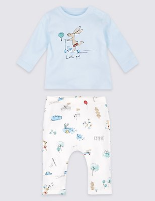 2 Piece Pure Cotton Top & Bottom Outfit, LIGHT BLUE MIX, catlanding