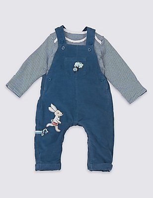 2 Piece Pure Cotton Bodysuit & Dungarees Outfit, BLUE MIX, catlanding