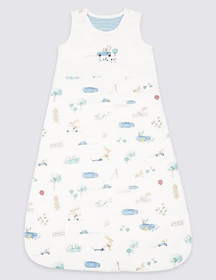 Pure Cotton 2.1 Tog Rabbit All Over Print Sleeping Bag, WHITE MIX, catlanding