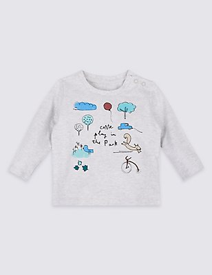 Come Play in the Park Pure Cotton Top, GREY MARL, catlanding
