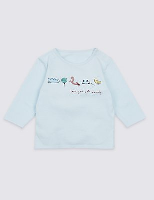 Love you Lots Daddy Embroidered Top, LIGHT BLUE, catlanding