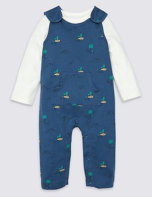 2 Piece Pure Cotton Bodysuit & Dungaree Outfit, BLUE MIX, catlanding