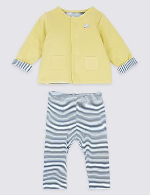 2 Piece Pure Cotton Jacket & Trousers Outfit, GREEN MIX, catlanding