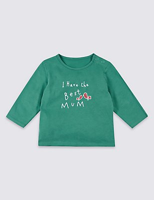 Zuiver katoenen top met 'I have the best mum'-print, ZEEGROEN, catlanding