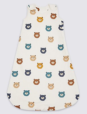 Pure Cotton Teddy Print 1.5 Tog Sleeping Bag, WHITE MIX, catlanding