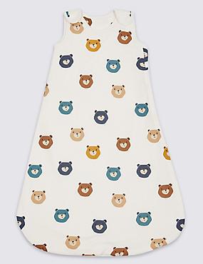Saco de dormir 100% algodón con estampado de oso de peluche de 1,5tog, MEZCLA DE TONOS BLANCOS, catlanding