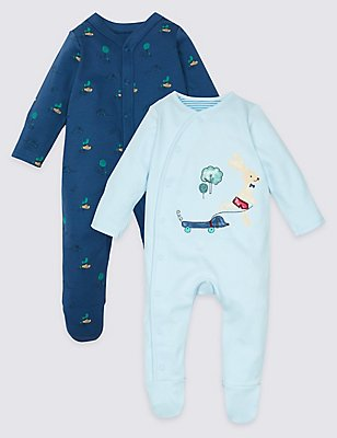 2 Pack Pure Cotton Applique Sleepsuits, LIGHT BLUE, catlanding