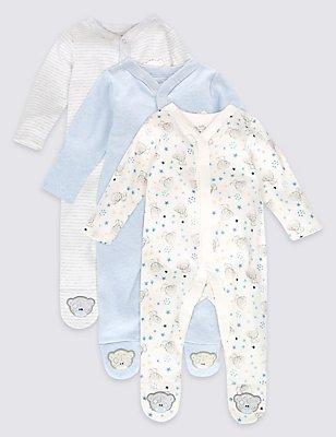3 Pack Pure Cotton Sleepsuits, BLUE MIX, catlanding
