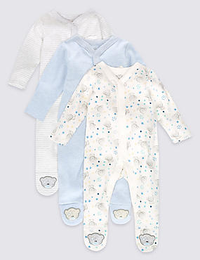 3 Pack Pure Cotton Sleepsuits, BLUE MIX, catlanding