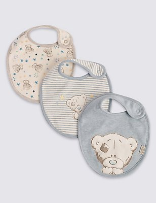 3 Pack Pure Cotton Assorted Dribble Bibs, BLUE MIX, catlanding