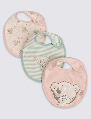 3 Pack Pure Cotton Dribble Bibs, PINK MIX, catlanding