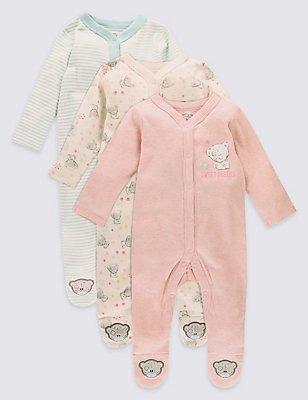 3 Pack Pure Cotton Sleepsuits, PINK MIX, catlanding