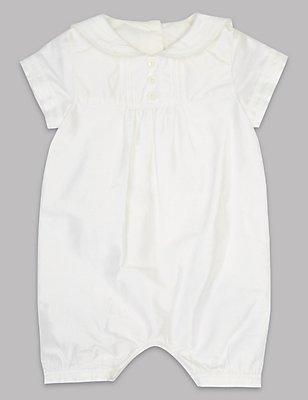Pure Silk Christening Baby Romper, IVORY, catlanding