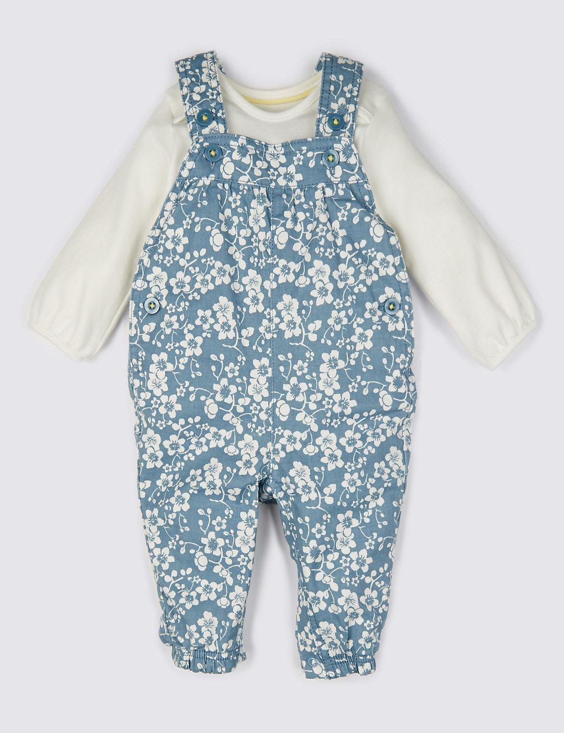 2 Piece Cotton Rich Bodysuit & Dungaree Outfit
