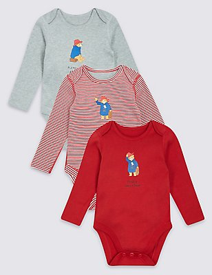 Paddington™ 3 Pack Pure Cotton Bodysuits, MULTI, catlanding