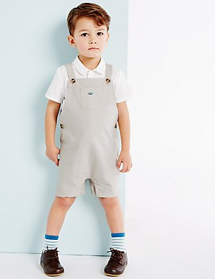 Boys Woven Bib Short (3 Months - 3 Years), LIGHT SAND, catlanding