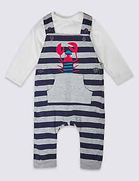 2 Piece Pure Cotton Dungaree Outfit, NAVY MIX, catlanding