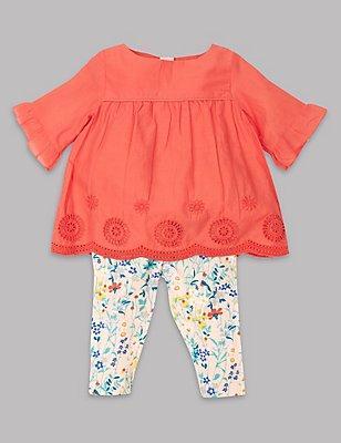 2 Piece Broderie Hem Top & Leggings Outfit, CORAL MIX, catlanding