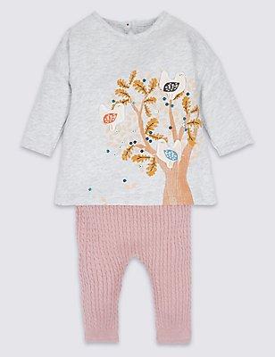 2-teiliges Outfit aus reiner Baumwolle mit Sweater-Kleid & Leggings, GRAU MELIERT, catlanding