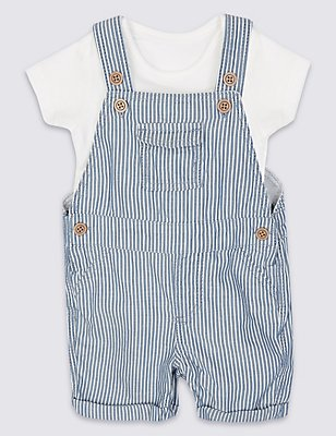 2 Piece Pure Cotton Bodysuit & Bib Shorts Outfit, BLUE MIX, catlanding
