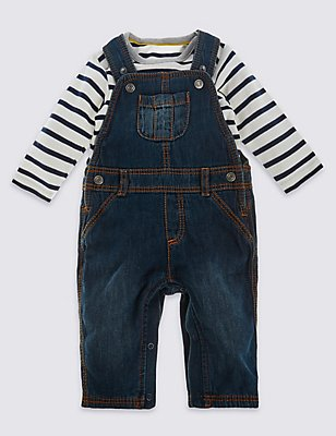 2 Piece Pure Cotton Dungarees & Bodysuit Outfit, DENIM, catlanding