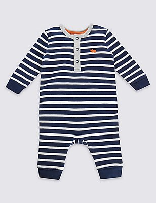 Pure Cotton Striped All-in-One, NAVY MIX, catlanding