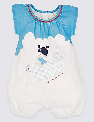 Pure Cotton Romper, BLUE MIX, catlanding
