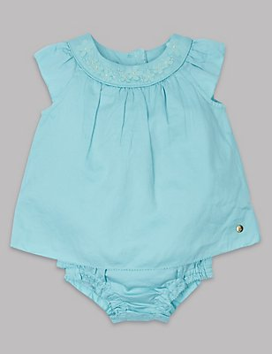 2 Piece Pure Cotton Dress with Knickers , SOFT TURQUOISE, catlanding
