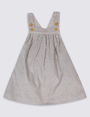Pure Cotton Glitter Pinafore Dress, GREY MARL, catlanding