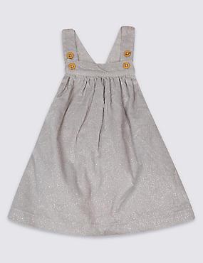 Pure Cotton Pinafore Dress, GREY MARL, catlanding