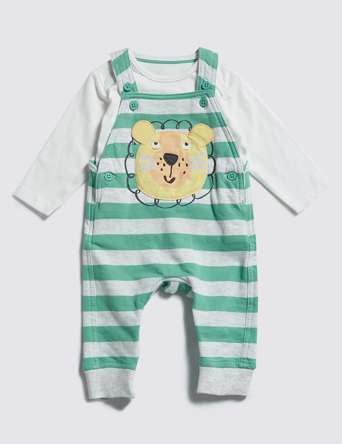 2 Piece Pure Cotton Lion Appliqué Dungaree & T-Shirt Outfit