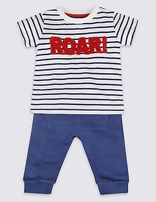 2 Piece Pure Cotton T-Shirt & Joggers Outfit, NAVY MIX, catlanding