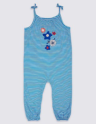 Pure Cotton Striped Jersey Romper, BLUE MIX, catlanding