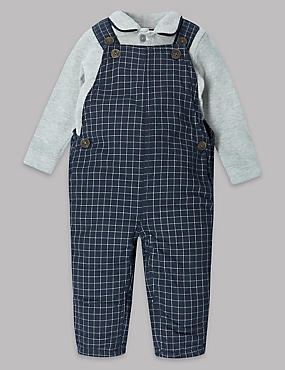 2 Piece Pure Cotton Checked Dungarees Outfit, NAVY MIX, catlanding