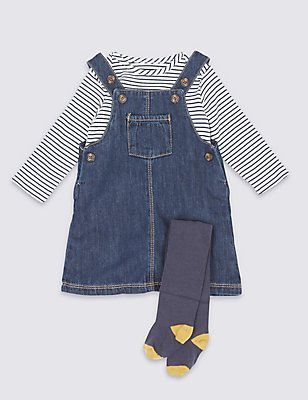 3 Piece Bodysuit & Denim Pinny with Tights Outfit, DARK DENIM, catlanding