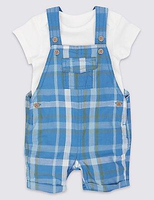 2 Piece Pure Cotton Bodysuit & Bib Shorts Outfit, NAVY MIX, catlanding