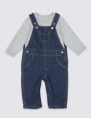 2 Piece Pure Cotton Bodysuit & Dungarees Outfit, DARK DENIM, catlanding