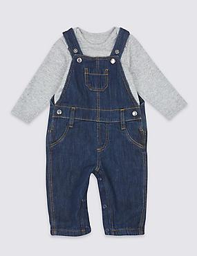 2 Piece Pure Cotton Bodysuit & Dungarees Outfit, DARK DENIM, catlanding