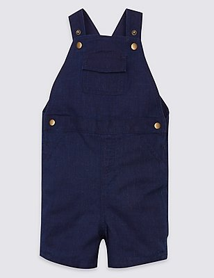 Pure Cotton Textured Dungarees, DARK BLUE, catlanding